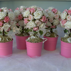 Pink And Ivory Rose Topiary Trees X 5 Wedding Flowers