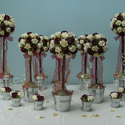 Rose Topiary Tree Wedding Table Flowers Package