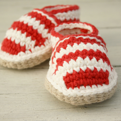Beach shoes 6-12 Months, Red & Cream Striped Crochet Loafers - MADE To ORDER