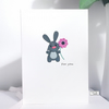 All Occasions blank card, Rabbit and flower
