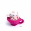 Needle felted sleepy mouse in a teacup by Lily Lily Handmade