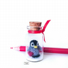 Penguin in a miniature glass bottle by Lily Lily Handmade