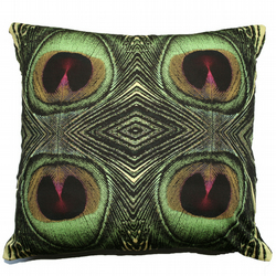 Green Feather Print Cushion