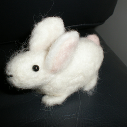 felted white bunny