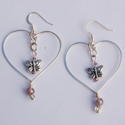 Butterfly and Heart Earrings