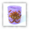 Polymer Clay Applique Tea Light Votive Holder in Purple and Gold