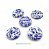Handmade Polymer Clay Buttons, Blue Rose Small