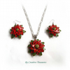 Christmas Poinsettia Necklace and Earrings set
