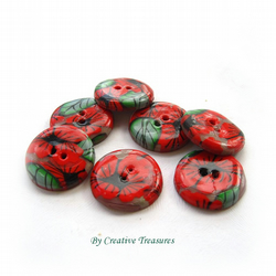 Handmade Polymer Clay Button, Poppies