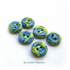Handmade Polymer Clay Button, Pearly Blue and Green