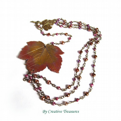 Sycamore Autumn Leaf Necklace