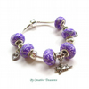 European Charm Bracelet with Handmade Polymer Clay Beads