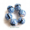 Set of 6 Polymer Clay Blue Butterfly Beads