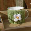 Mug Cosy with Daisy Flower in Green, Pink, Yellow and Terracotta