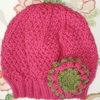Girls Beanie Hat in Strawberry Pink & Olive Green Size Medium with Flower Brooch