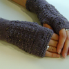 Fingerless Gloves Mittens Wrist Warmers in Dusky Grape Aran Wool