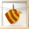Baby Hat in Marmalade Orange & Lemon Yellow Stripes Size 3 - 6 Months