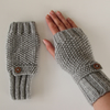 Fingerless Gloves in Grey Aran Wool