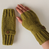 Fingerless Gloves in Olive Green Aran Wool