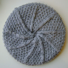 Ladies Aran Wool Hat in Light Grey, Sage Green & Charcoal
