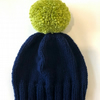 Reserved Listing for SG - Navy Bobble Hat with Lime Green Pom Pom