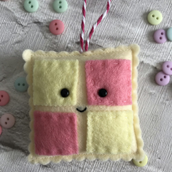 Betty battenburg, felt cake, felt decoration,kawaii decoration