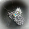 Two Head Are Better Than One Celtic Dragon Necklace Goddess Crystal Snowflake