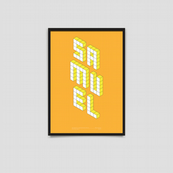 Baby Name Poster - Block Series - A3 Orange & Yellow