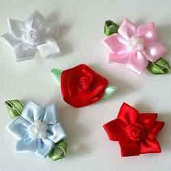 Satin Flower Embellishments - 5 Varieties to Choose From