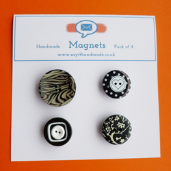 SALE Fun button magnets monochrome patterns - Skiddaw