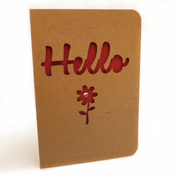 Papercut flower hello notecard - Thirsk