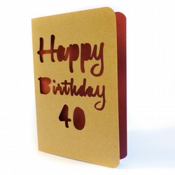 Papercut age birthday card - Bradford