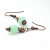 Pale green jade and copper handmade earrings