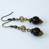Black onyx and gold crystal vintage style earrings