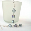 Handmade delicate blue crystal coin dangly earrings