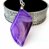 Beautiful agate purple pendant necklace - great Christmas gift