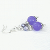 REDUCED FOR ONE DAY: Handmade purple earrings, with purple alexandrite & crystal