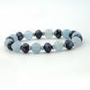 Handmade blue bracelet, with blue jade and jet crystals