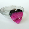 Black & pink agate heart shaped pendant necklace