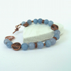 SALE Blue aventurine and copper handmade bracelet with heart charm embellishment