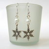 Christmas snowflake and white faux pearl bead earrings, other colours available