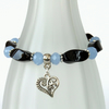 Black onyx and pastel blue crystal stretchy bracelet with heart charm