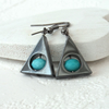 Hematite and turquoise blue glass triangular earrings