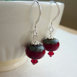 Earrings with red faceted beads FOR CHILDREN IN NEED