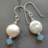 Coin Pearl Pacific Opal Crystal Earrings FOR COMIC RELIEF