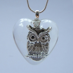 Owl resin necklace