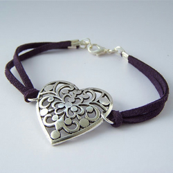 Purple Suede Heart Bracelet