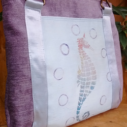 Velvety fabric and silk luxury handbag with painted pastel seahorse and bubbles