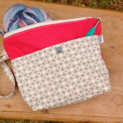 Small project bag for crochet in red and cream heart design