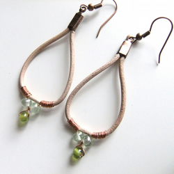 Rainbow greens, Copper coil Leather hoop Earrings